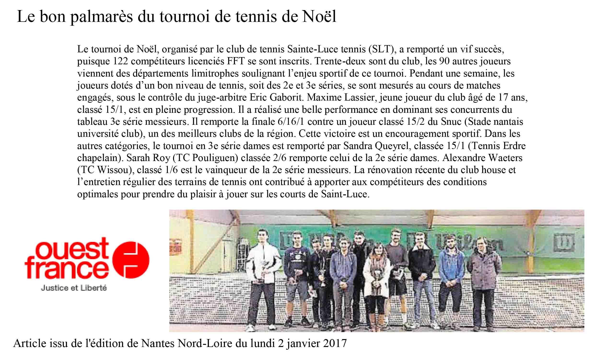 Ouest France : Tournoi de Noël 2016